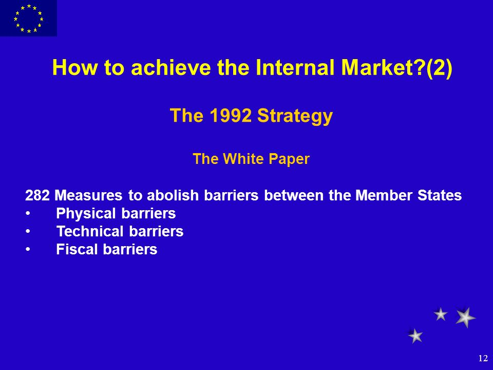 12 How to achieve the Internal Market?(2) The 1992 Strategy The White Paper 282 Measures to abolish barriers between the Member States Physical barrie