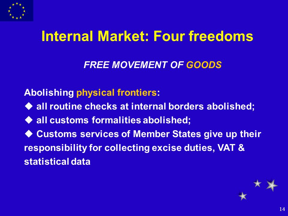 14 Internal Market: Four freedoms FREE MOVEMENT OF GOODS Abolishing physical frontiers: u all routine checks at internal borders abolished; u all cust