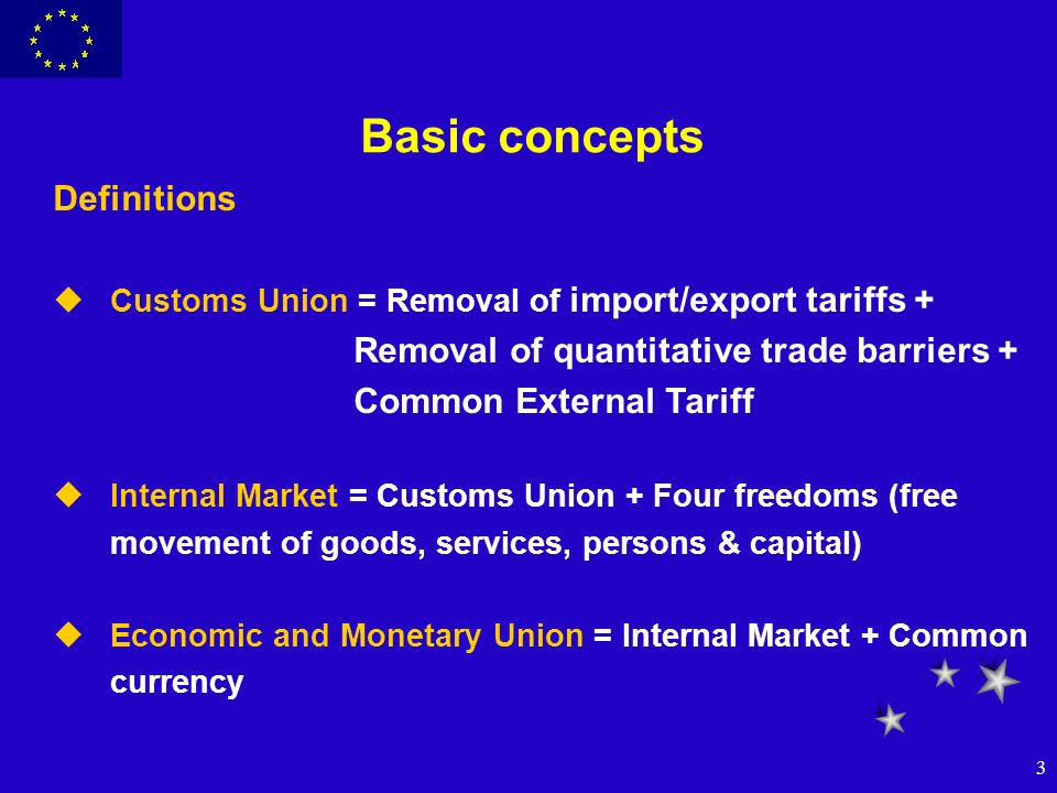3 Basic concepts Definitions uCustoms Union = Removal of import/export tariffs + Removal of quantitative trade barriers + Common External Tariff uInte