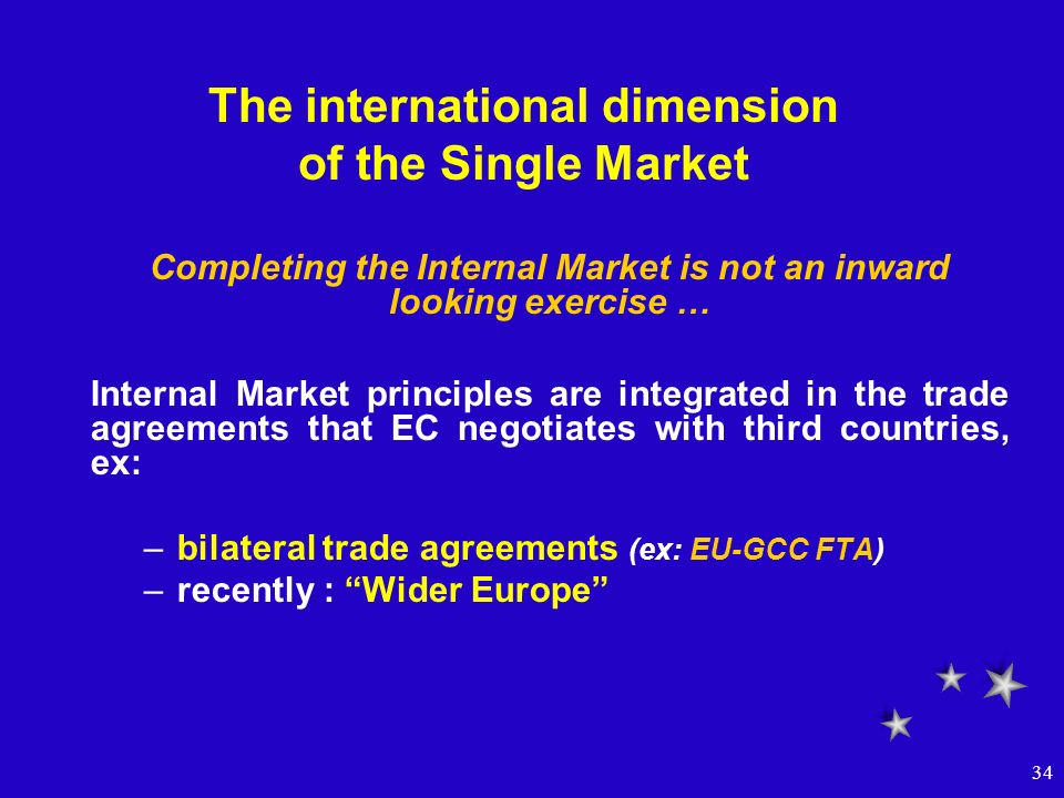 34 The international dimension of the Single Market Completing the Internal Market is not an inward looking exercise … Internal Market principles are