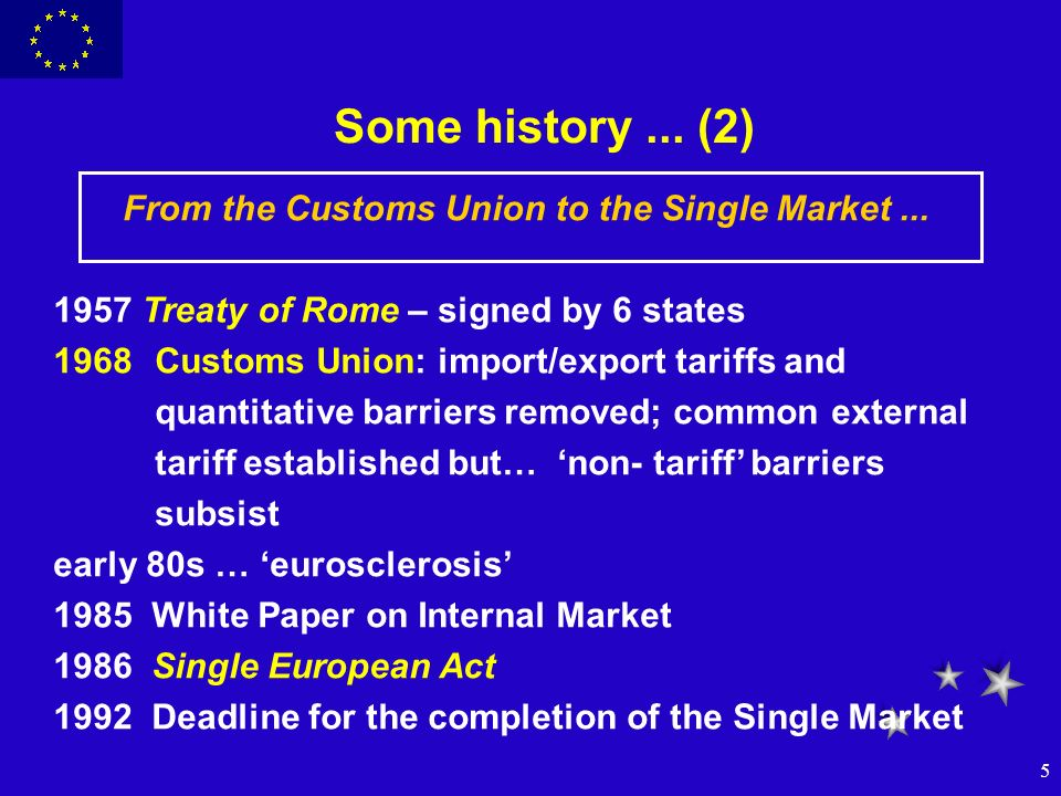 5 Some history... (2) From the Customs Union to the Single Market... 1957 Treaty of Rome – signed by 6 states 1968Customs Union: import/export tariffs