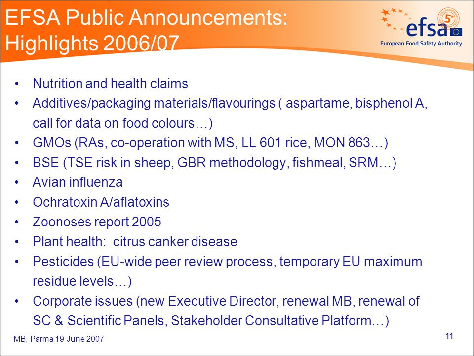 MB, Parma 19 June EFSA Public Announcements: Highlights 2006/07 Nutrition and health claims Additives/packaging materials/flavourings ( aspartame, bisphenol A, call for data on food colours…) GMOs (RAs, co-operation with MS, LL 601 rice, MON 863…) BSE (TSE risk in sheep, GBR methodology, fishmeal, SRM…) Avian influenza Ochratoxin A/aflatoxins Zoonoses report 2005 Plant health: citrus canker disease Pesticides (EU-wide peer review process, temporary EU maximum residue levels…) Corporate issues (new Executive Director, renewal MB, renewal of SC & Scientific Panels, Stakeholder Consultative Platform…)
