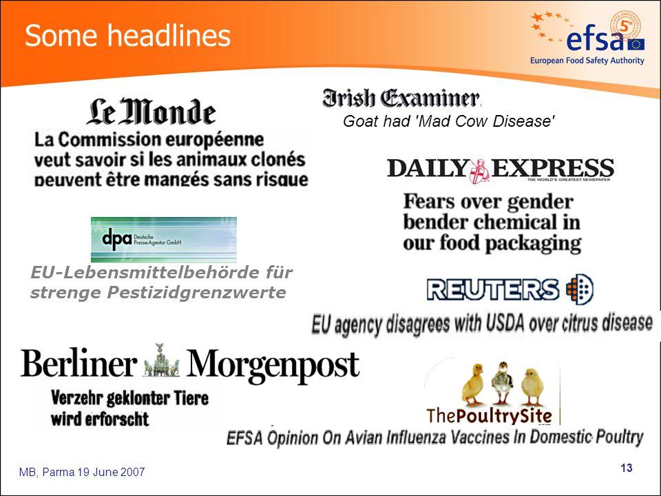 MB, Parma 19 June 2007 13 Goat had 'Mad Cow Disease' Some headlines EU-Lebensmittelbehörde für strenge Pestizidgrenzwerte