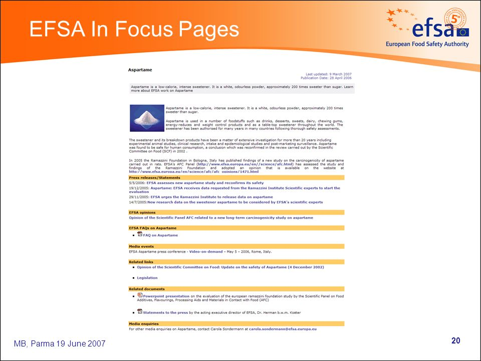 MB, Parma 19 June 2007 20 EFSA In Focus Pages