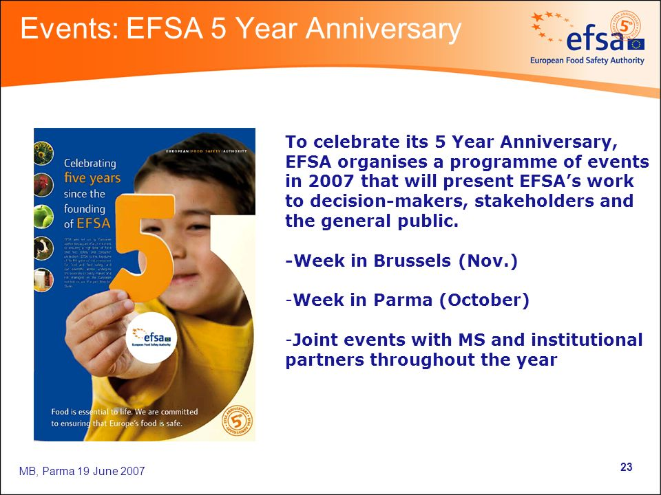MB, Parma 19 June 2007 23 Events: EFSA 5 Year Anniversary To celebrate its 5 Year Anniversary, EFSA organises a programme of events in 2007 that will