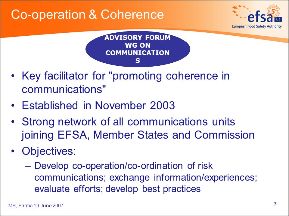 MB, Parma 19 June Co-operation & Coherence Key facilitator for promoting coherence in communications Established in November 2003 Strong network of all communications units joining EFSA, Member States and Commission Objectives: –Develop co-operation/co-ordination of risk communications; exchange information/experiences; evaluate efforts; develop best practices ADVISORY FORUM WG ON COMMUNICATION S