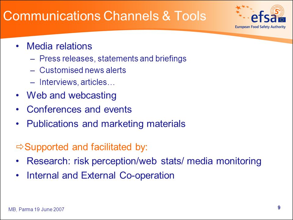 MB, Parma 19 June Communications Channels & Tools Media relations –Press releases, statements and briefings –Customised news alerts –Interviews, articles… Web and webcasting Conferences and events Publications and marketing materials Supported and facilitated by: Research: risk perception/web stats/ media monitoring Internal and External Co-operation