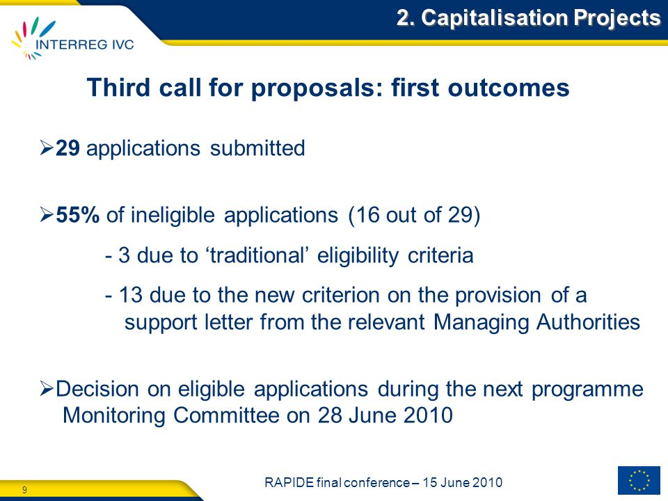 9 RAPIDE final conference – 15 June 2010 Third call for proposals: first outcomes 29 applications submitted 55% of ineligible applications (16 out of 29) - 3 due to traditional eligibility criteria - 13 due to the new criterion on the provision of a support letter from the relevant Managing Authorities Decision on eligible applications during the next programme Monitoring Committee on 28 June