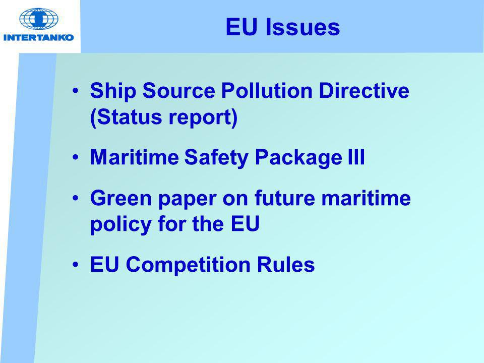 EU Issues Ship Source Pollution Directive (Status report) Maritime Safety Package III Green paper on future maritime policy for the EU EU Competition Rules