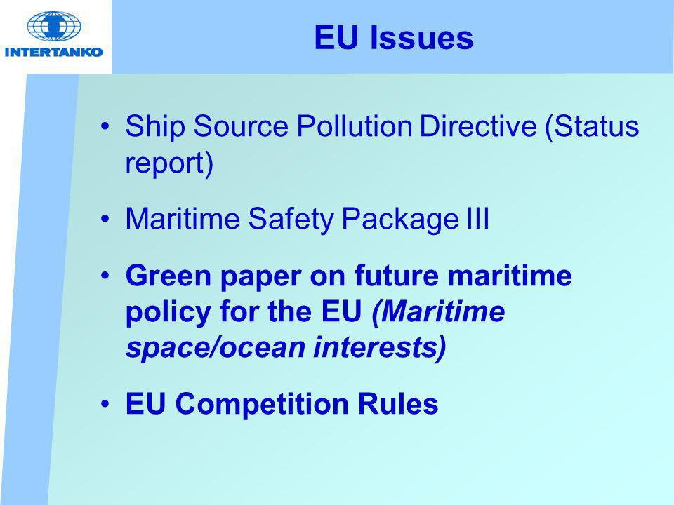 EU Issues Ship Source Pollution Directive (Status report) Maritime Safety Package III Green paper on future maritime policy for the EU (Maritime space/ocean interests) EU Competition Rules