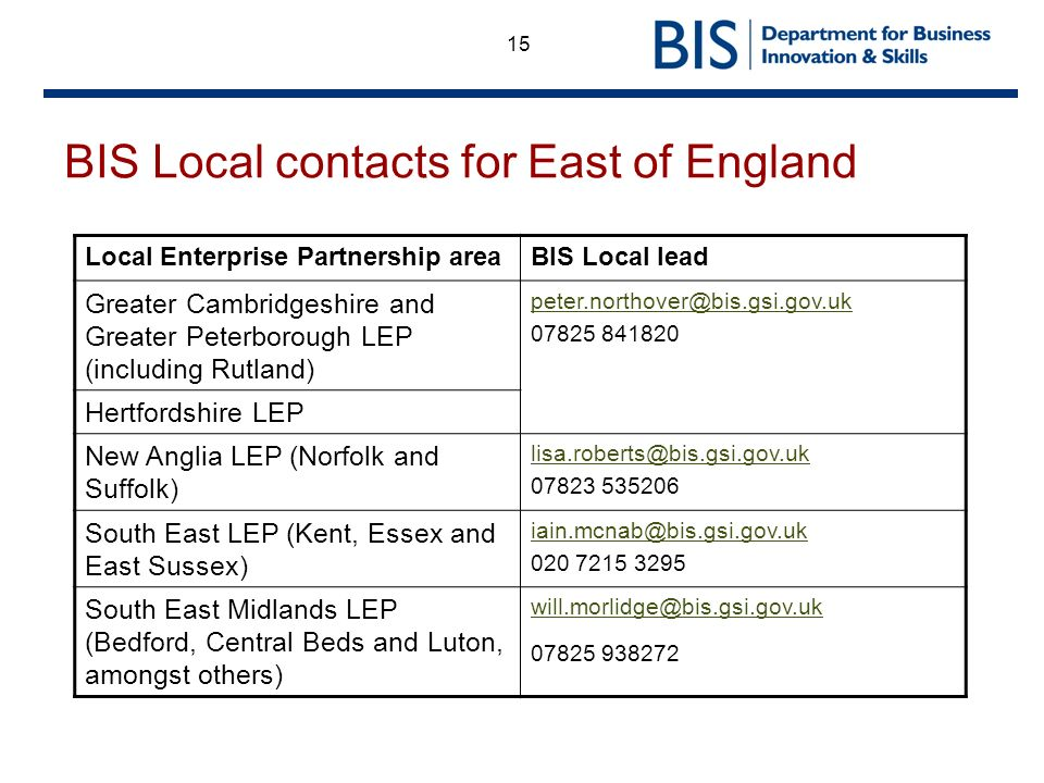 15 BIS Local contacts for East of England Local Enterprise Partnership areaBIS Local lead Greater Cambridgeshire and Greater Peterborough LEP (includi