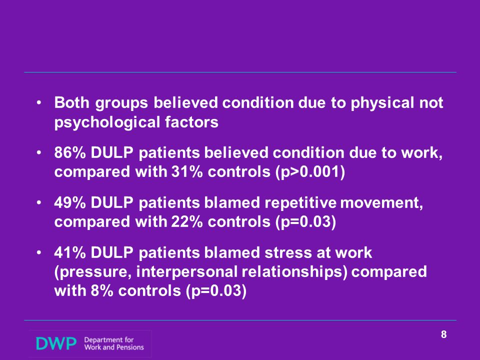 Both groups believed condition due to physical not psychological factors 86% DULP patients believed condition due to work, compared with 31% controls (p>0.001) 49% DULP patients blamed repetitive movement, compared with 22% controls (p=0.03) 41% DULP patients blamed stress at work (pressure, interpersonal relationships) compared with 8% controls (p=0.03) 8