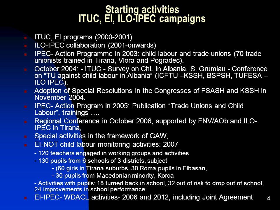 4 Starting activities ITUC, EI, ILO-IPEC campaigns ITUC, EI programs (2000-2001) ILO-IPEC collaboration (2001-onwards) IPEC- Action Programme in 2003: