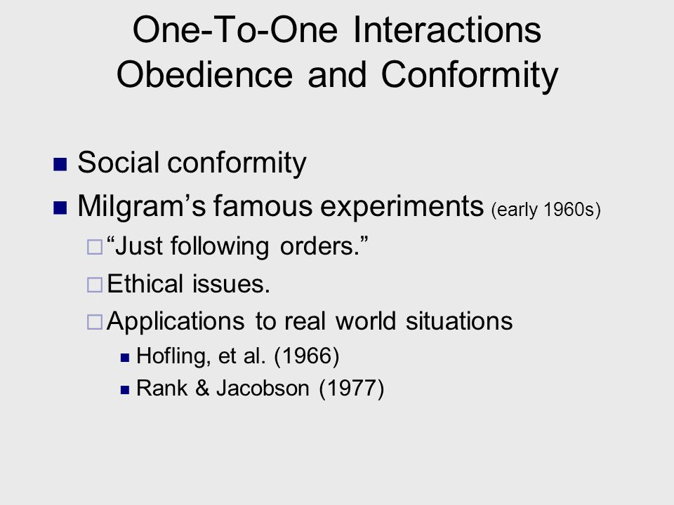 One-To-One Interactions Compliance Principles Comparison of FID and DIF techniques (Harrari et al., 1980)all significantly different: FID33.3% complia
