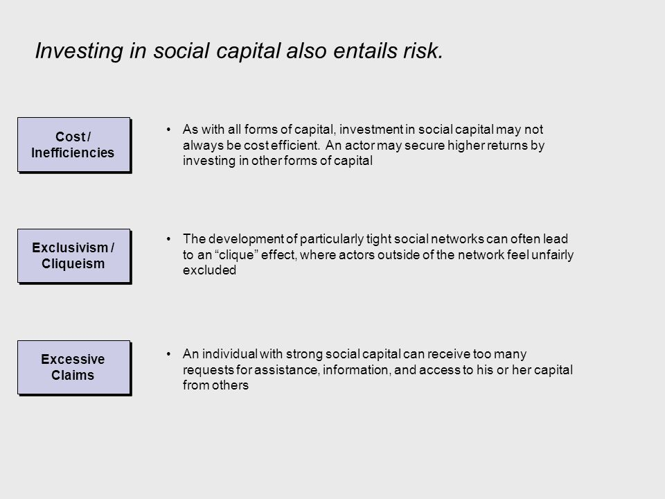 The Virtuous Cycle of Social Capital Influence and Control Information Trust and Solidarity Like many other forms of capital, and perhaps to a greater