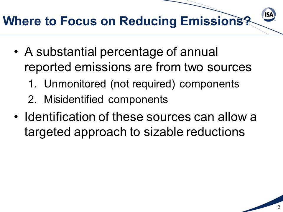 3 Where to Focus on Reducing Emissions? A substantial percentage of annual reported emissions are from two sources 1.Unmonitored (not required) compon
