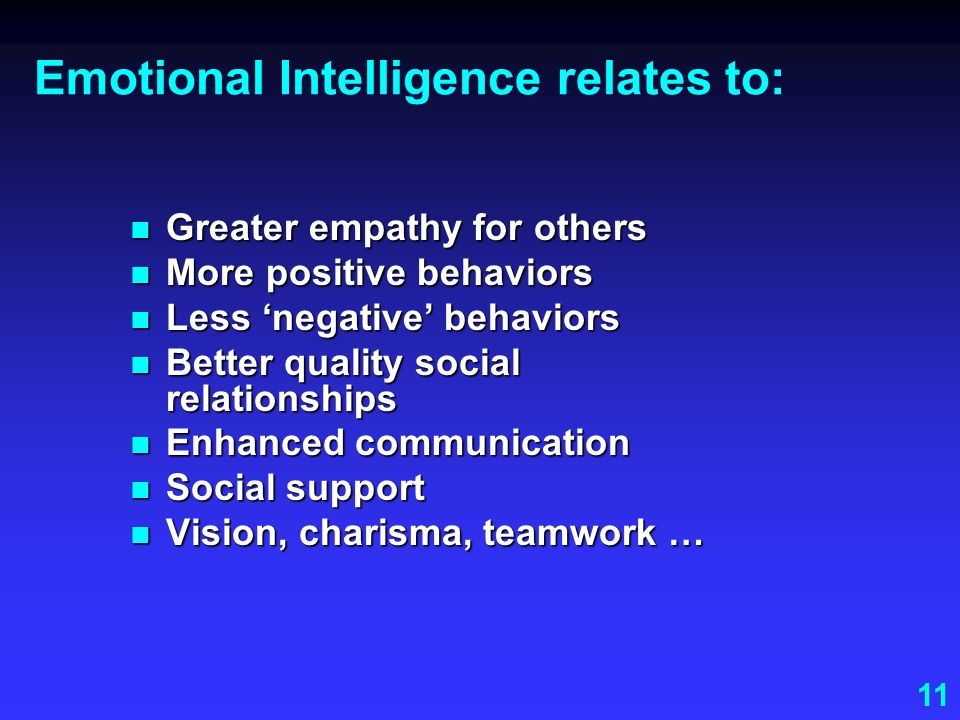 11 Emotional Intelligence relates to: Greater empathy for others Greater empathy for others More positive behaviors More positive behaviors Less negat