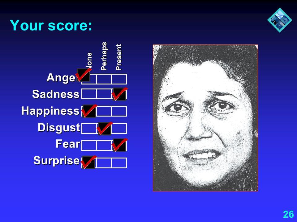 26 Your score: AngerSadnessHappinessDisgustFearSurprise None Perhaps Present