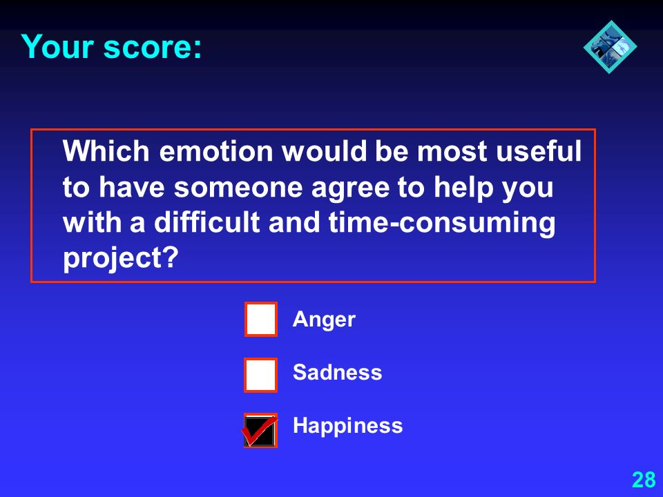28 Your score: Which emotion would be most useful to have someone agree to help you with a difficult and time-consuming project? Anger Sadness Happine