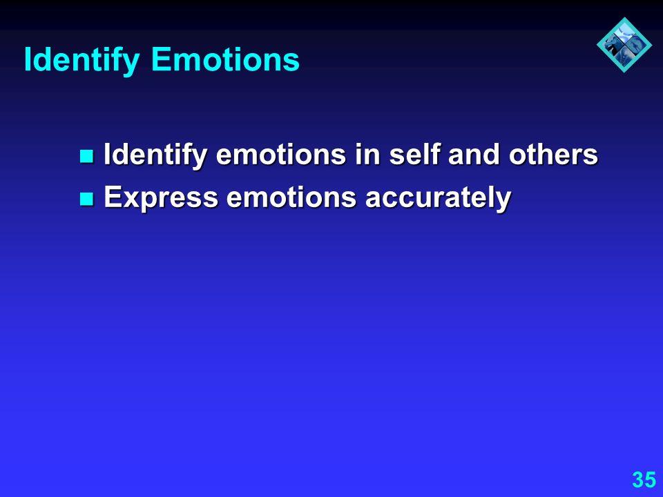 35 Identify Emotions Identify emotions in self and others Identify emotions in self and others Express emotions accurately Express emotions accurately