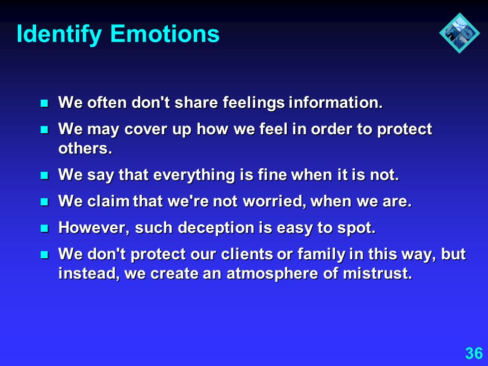 36 Identify Emotions We often don't share feelings information. We often don't share feelings information. We may cover up how we feel in order to pro