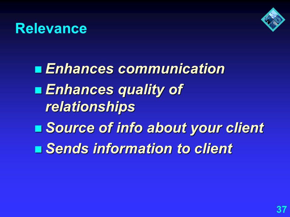 37 Relevance Enhances communication Enhances communication Enhances quality of relationships Enhances quality of relationships Source of info about yo