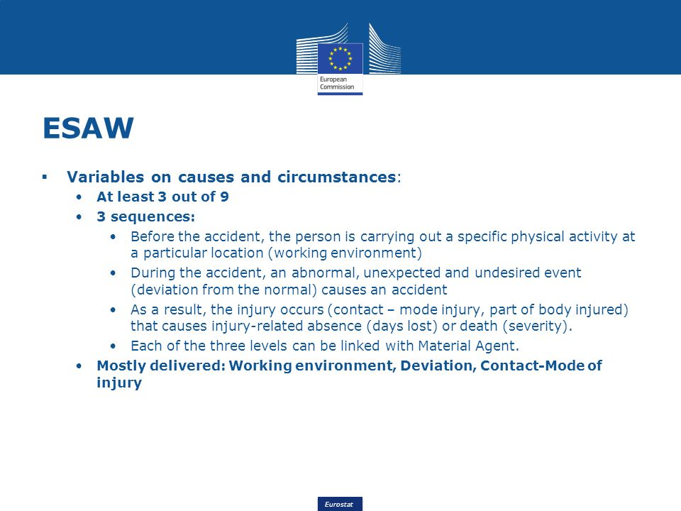 Eurostat ESAW Variables on causes and circumstances: At least 3 out of 9 3 sequences: Before the accident, the person is carrying out a specific physi