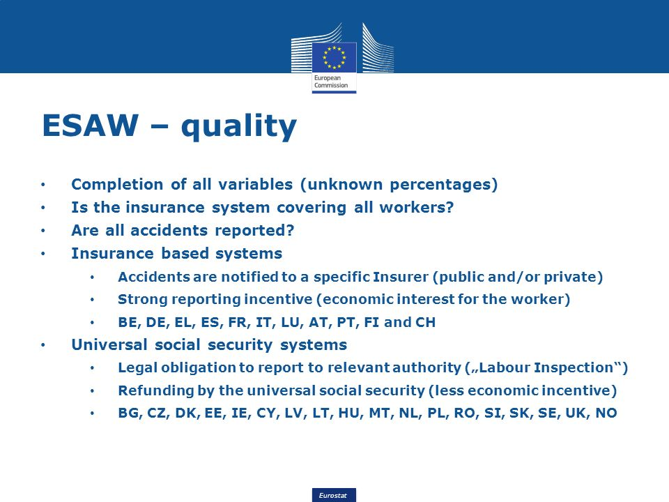 Eurostat ESAW – quality Completion of all variables (unknown percentages) Is the insurance system covering all workers? Are all accidents reported? In