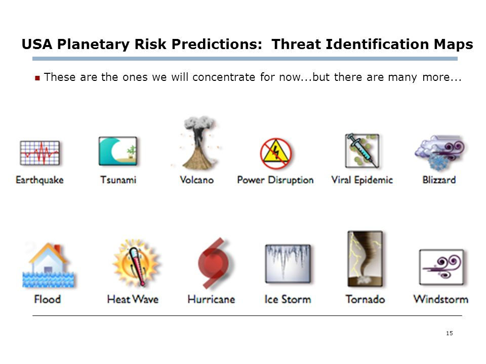 15 These are the ones we will concentrate for now...but there are many more... USA Planetary Risk Predictions: Threat Identification Maps
