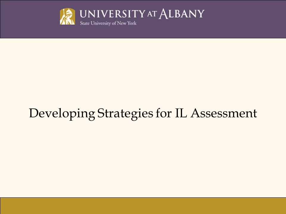 Developing Strategies for IL Assessment