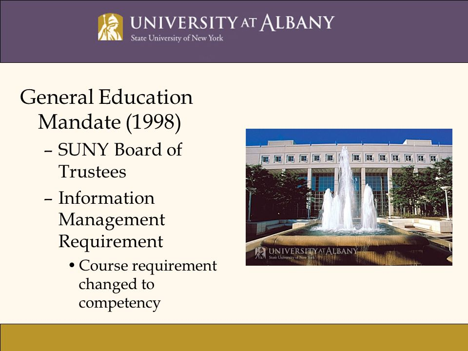 General Education Mandate (1998) –SUNY Board of Trustees –Information Management Requirement Course requirement changed to competency