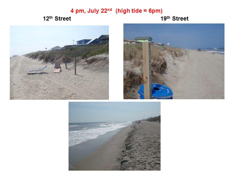 4 pm, July 22 nd (high tide = 6pm) 12 th Street19 th Street