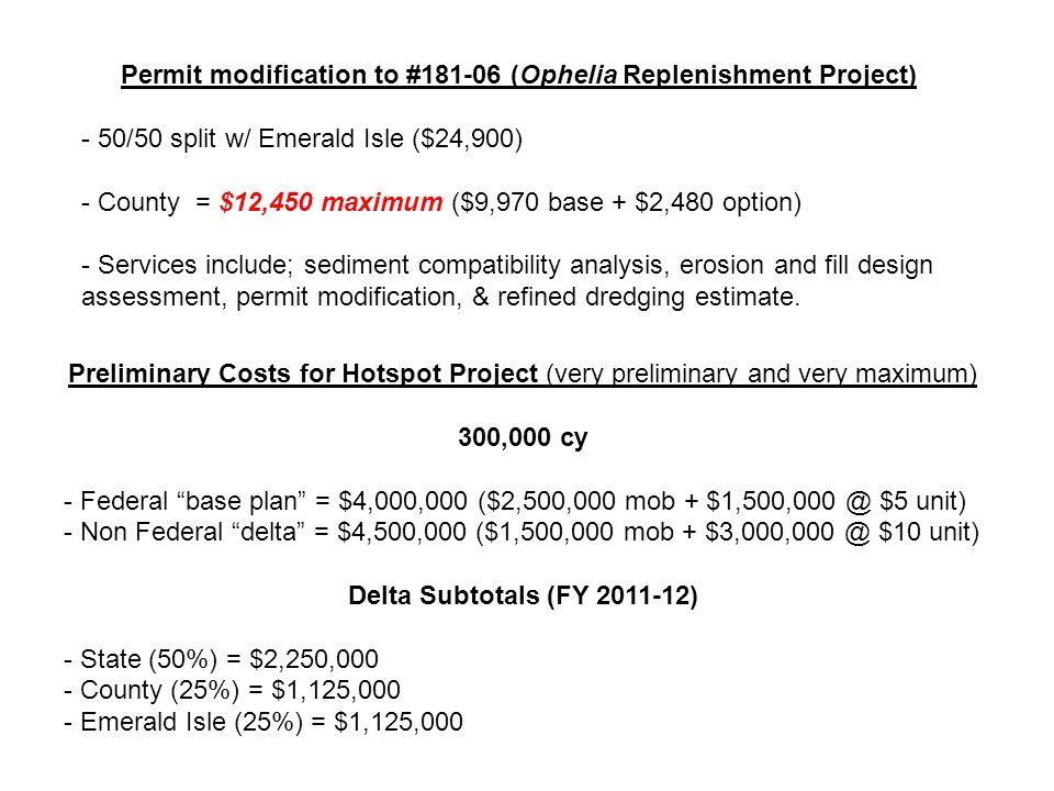 Permit modification to #181-06 (Ophelia Replenishment Project) - 50/50 split w/ Emerald Isle ($24,900) - County = $12,450 maximum ($9,970 base + $2,480 option) - Services include; sediment compatibility analysis, erosion and fill design assessment, permit modification, & refined dredging estimate.