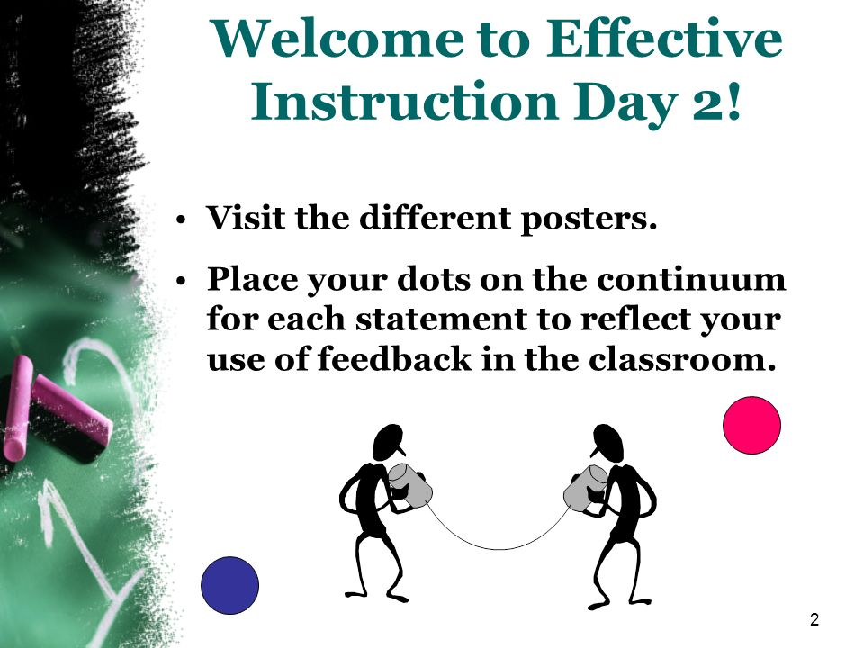2 Welcome to Effective Instruction Day 2! Visit the different posters. Place your dots on the continuum for each statement to reflect your use of feed
