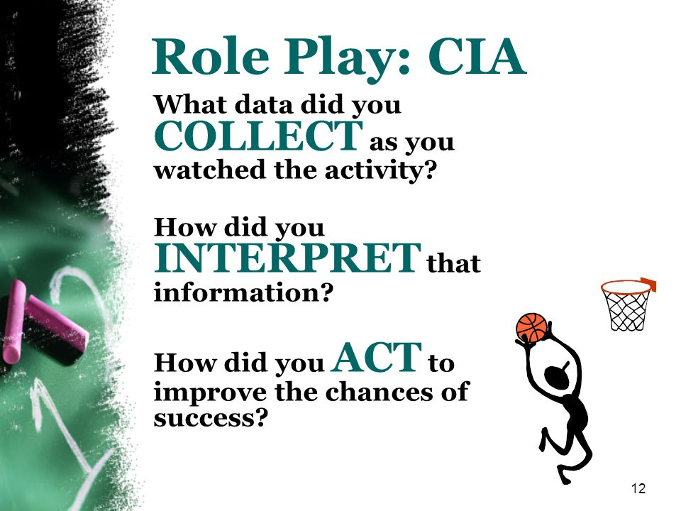 12 Role Play: CIA What data did you COLLECT as you watched the activity? How did you INTERPRET that information? How did you ACT to improve the chance