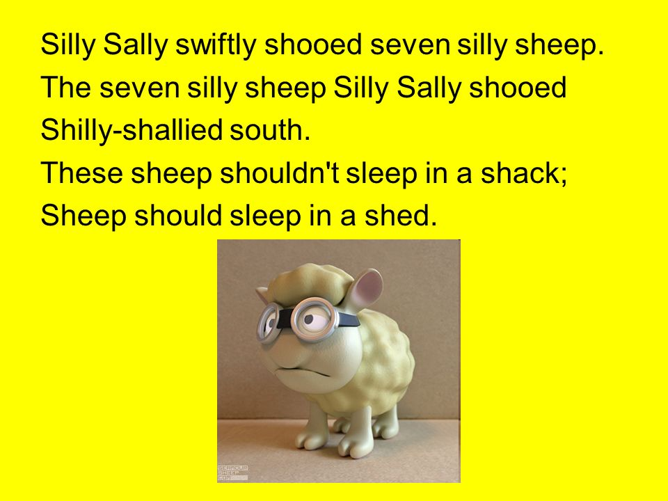 Silly Sally swiftly shooed seven silly sheep. The seven silly sheep Silly Sally shooed Shilly-shallied south. These sheep shouldn't sleep in a shack;