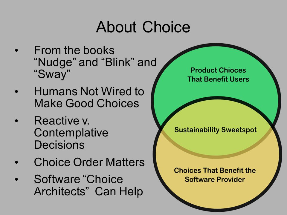About Choice From the books Nudge and Blink and Sway Humans Not Wired to Make Good Choices Reactive v.