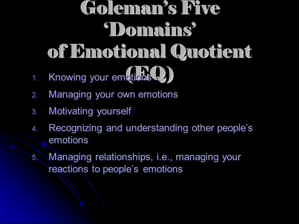 What is Emotional Intelligence (EI)? Daniel Goleman is an internationally known psychologist and author of the bestseller Emotional Intelligence Selli