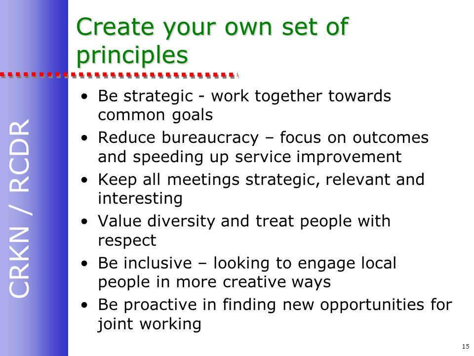 CRKN / RCDR 15 Create your own set of principles Be strategic - work together towards common goals Reduce bureaucracy – focus on outcomes and speeding up service improvement Keep all meetings strategic, relevant and interesting Value diversity and treat people with respect Be inclusive – looking to engage local people in more creative ways Be proactive in finding new opportunities for joint working