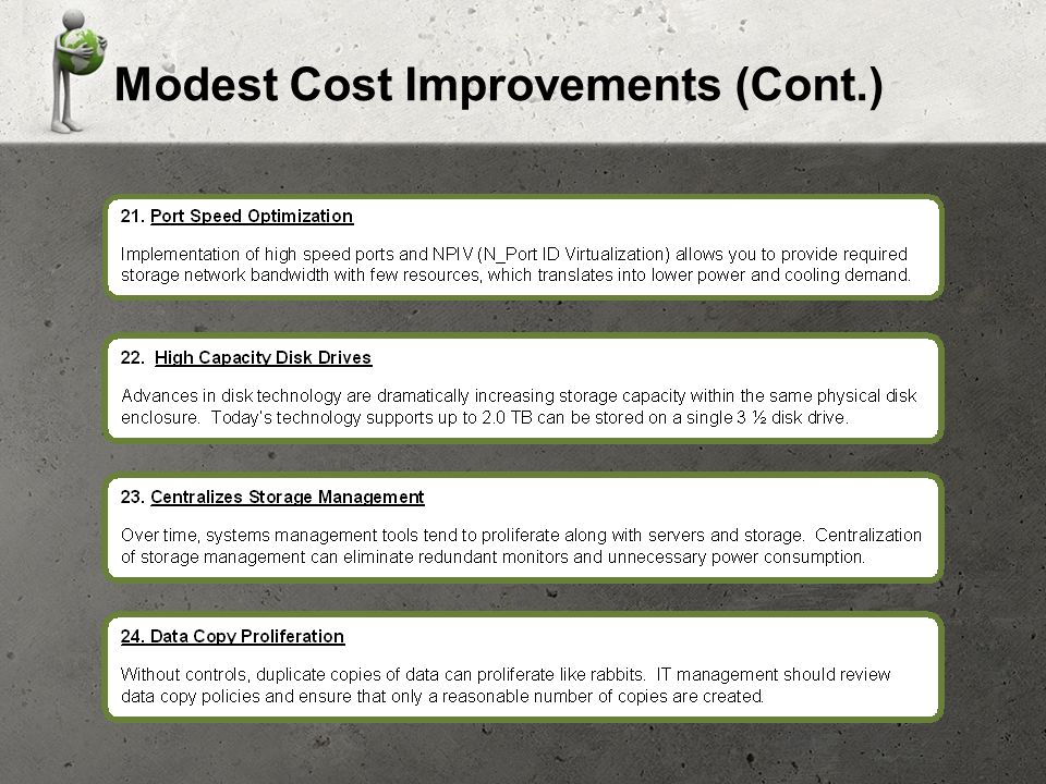 Modest Cost Improvements (Cont.)