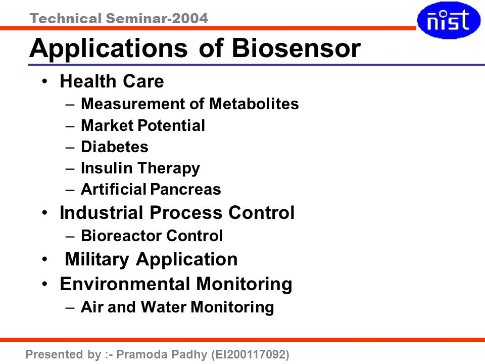 Technical Seminar-2004 Presented by :- Pramoda Padhy (EI200117092) Applications of Biosensor Health Care –Measurement of Metabolites –Market Potential