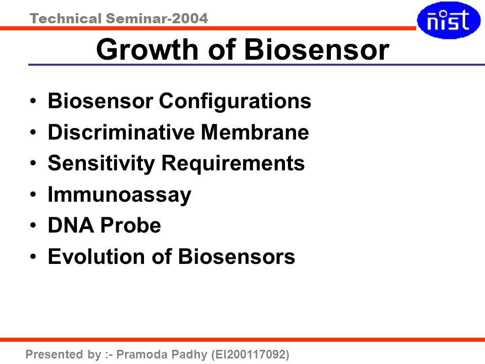 Technical Seminar-2004 Presented by :- Pramoda Padhy (EI200117092) Growth of Biosensor Biosensor Configurations Discriminative Membrane Sensitivity Re