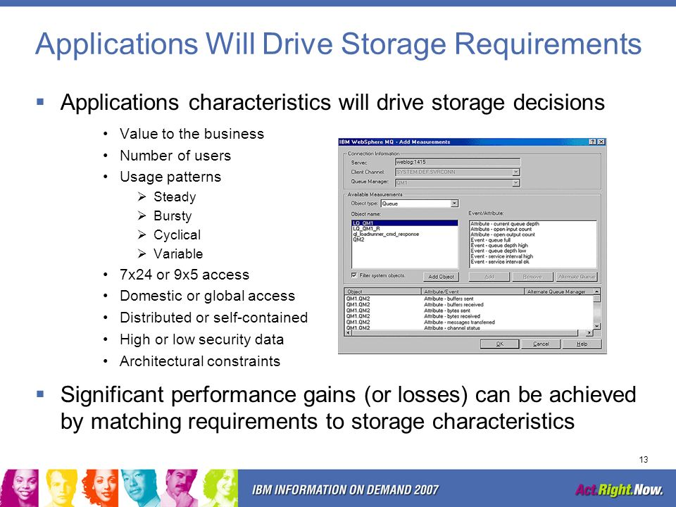 12 Know your applications needs User expectations Workload complexity Read or write intensity Sequential files usage IOPS dependence Stripe size optim
