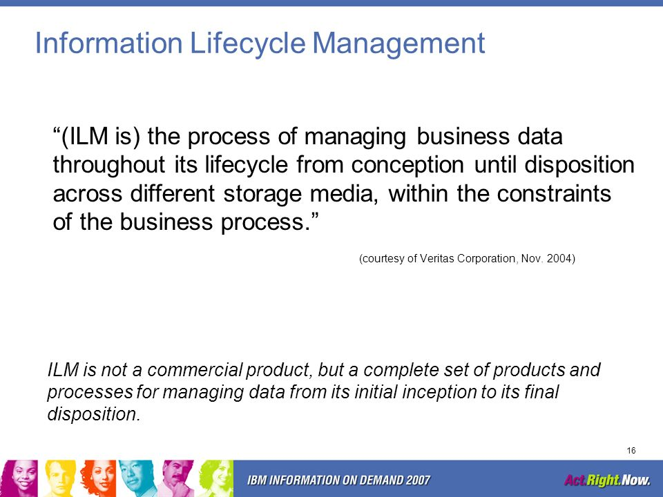 15 Large Storage Systems Must Be Managed Information Lifecycle Management (ILM) Hierarchical Storage Management (HSM) Storage Resource Management (SRM