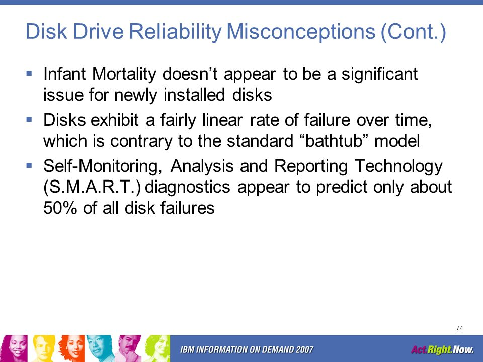 73 Disk Drive Reliability Misconceptions Actual disk failure rate is usually higher than published –Vendors indicate a.58% -.88% failure rate –Actual