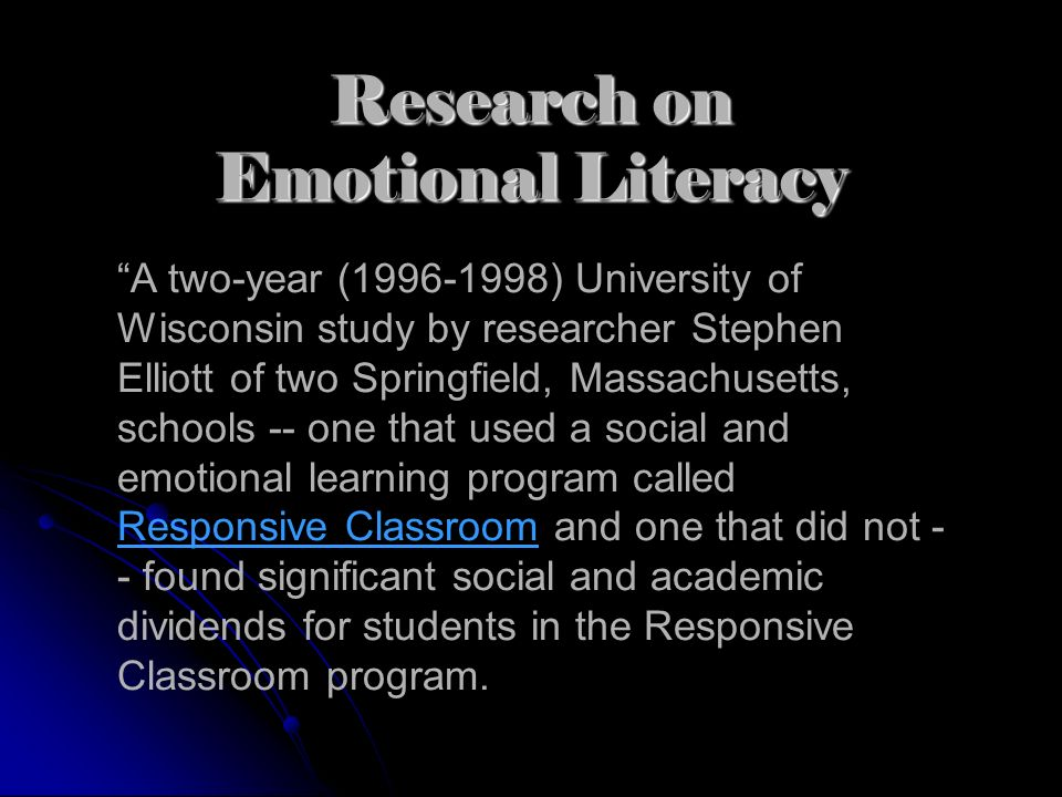 A two-year (1996-1998) University of Wisconsin study by researcher Stephen Elliott of two Springfield, Massachusetts, schools -- one that used a socia