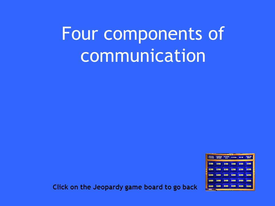 Four components of communication Click on the Jeopardy game board to go back