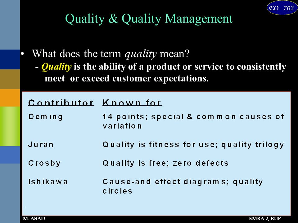 EMBA-2, BUP EO - 702 M. ASAD Quality & Quality Management What does the term quality mean? - Quality is the ability of a product or service to consist