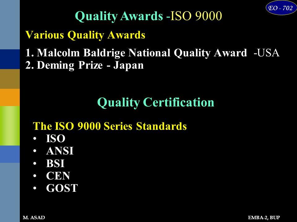 EMBA-2, BUP EO - 702 M. ASAD Various Quality Awards 1. Malcolm Baldrige National Quality Award -USA 2. Deming Prize - Japan Quality Awards -ISO 9000 Q