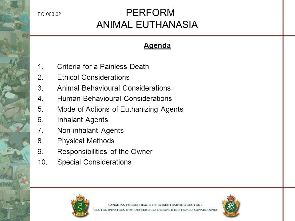 EO 003.02 PERFORM ANIMAL EUTHANASIA Agenda 1.Criteria for a Painless Death 2.Ethical Considerations 3.Animal Behavioural Considerations 4.Human Behavi
